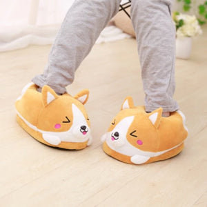 Cheeky Corgi Plush Slippers - Kawaiies - Adorable - Cute - Plushies - Plush - Kawaii