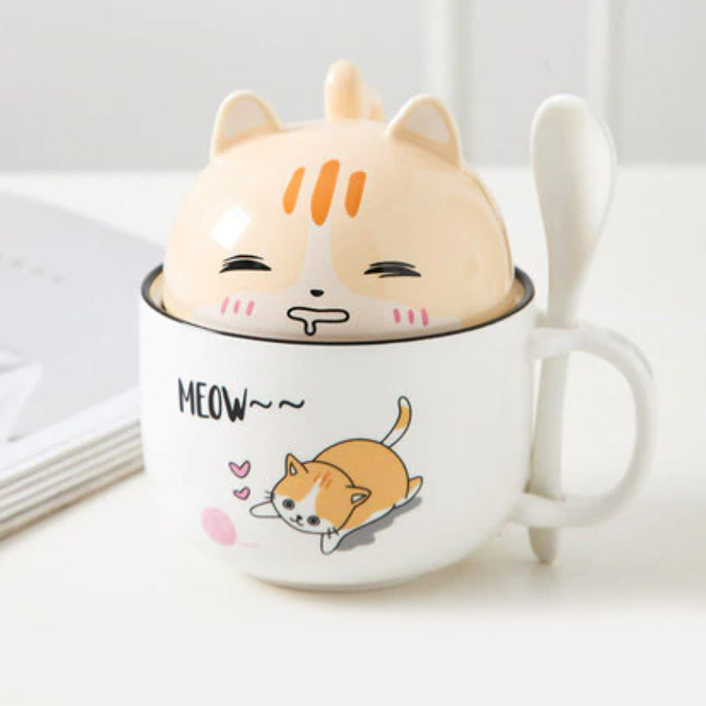Cute Cartoon Ceramic Cat Cup - Kawaiies - Adorable - Cute - Plushies - Plush - Kawaii