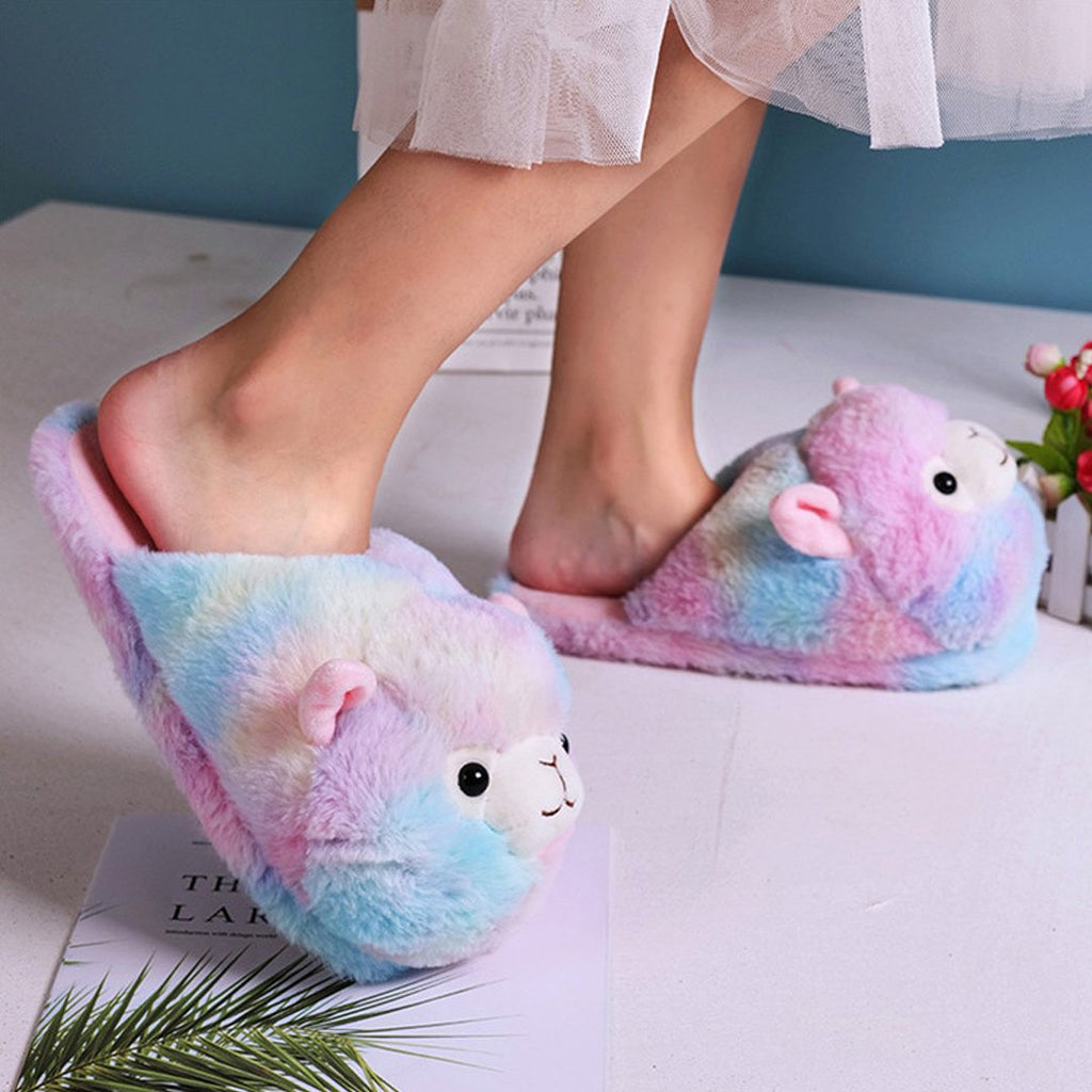 Fluffy Alpaca Plush Slippers - Kawaiies - Adorable - Cute - Plushies - Plush - Kawaii