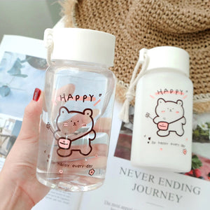 Happy Bear Water Bottle - Kawaiies - Adorable - Cute - Plushies - Plush - Kawaii