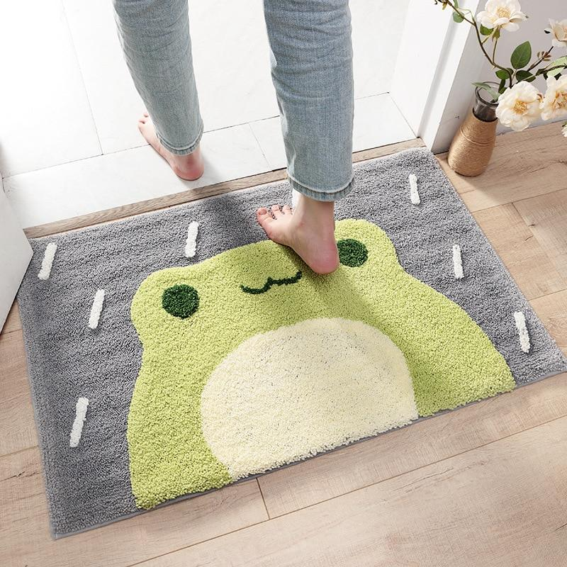 kawaiies-softtoys-plushies-kawaii-plush-Kawaii Green Smiling Frog Bathroom Mat | NEW Home Decor
