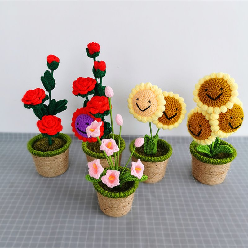 Smiling Sunflower and Rose Pot Plush - Kawaiies - Adorable - Cute - Plushies - Plush - Kawaii