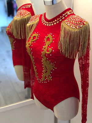 Red Lace Commercial Jazz Costume Size Adult XS/Child 12