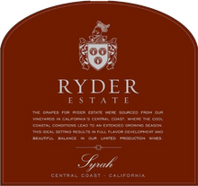 Load image into Gallery viewer, Ryder Estate Central Coast Syrah