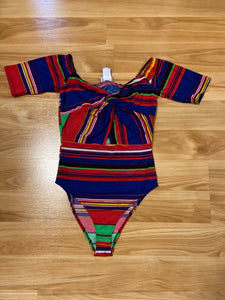 Leslie Multi-Color Bodysuit-blue/red