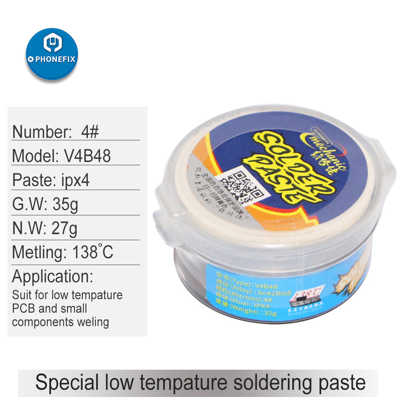 Mechanic 138℃ Low Temperature BGA Solder Paste Soldering Tin Cream