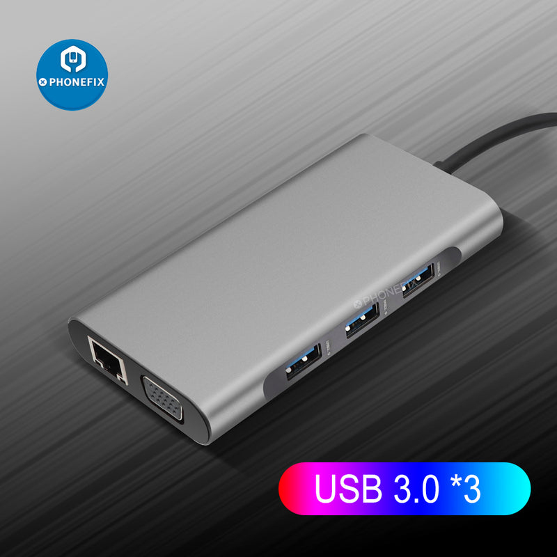 USB C Hub 10-in-1 Type-C Docking Station PD Fast Charge