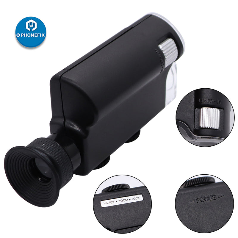 Mini Handheld 60X-240X Pocket Microscope Magnifer Loupe