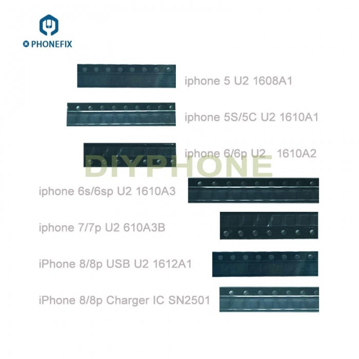 Iphone 6 6S 7 8 X XS 11 USB Charge IC U2 1608A1/A2/A3 610A3B