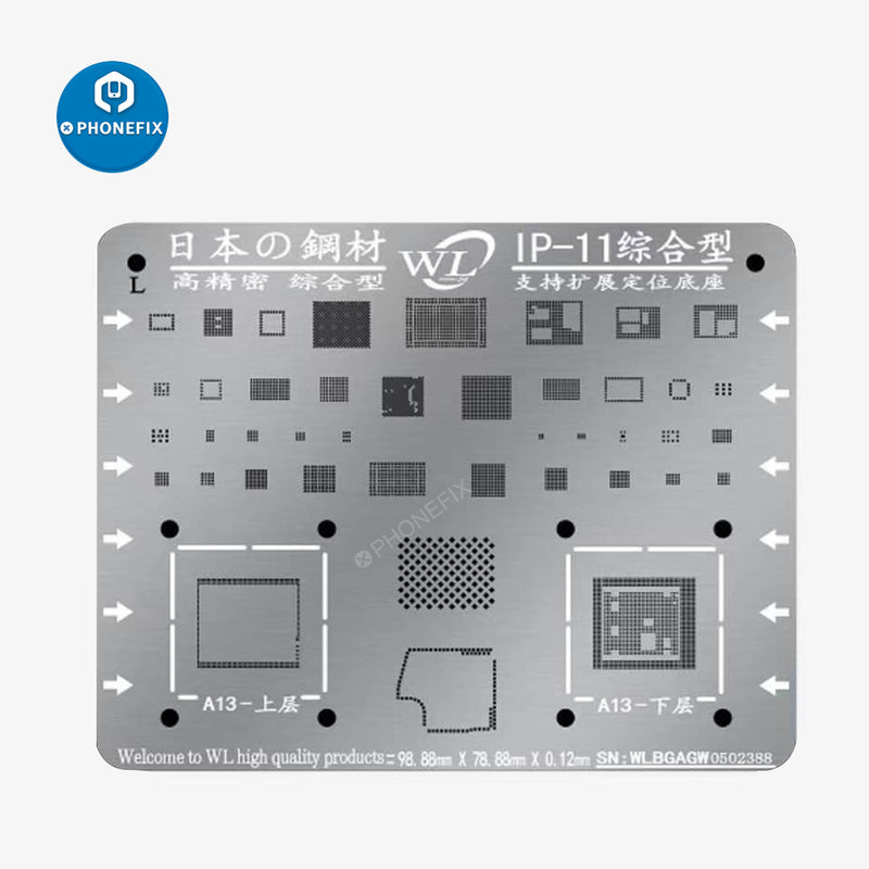 WL Multi-Purpose BGA Reballing Stencil Template For iPhone 7 7P 8P XS