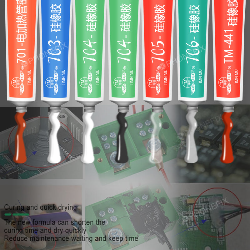 Silicone Industrial Adhesive 704 RTV Rubber Black Transparent Glue
