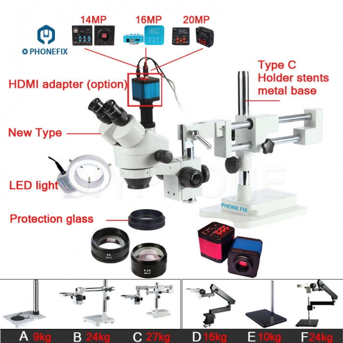3.5X-90X Double Arm Trinocular Microscope with Industrial Camera