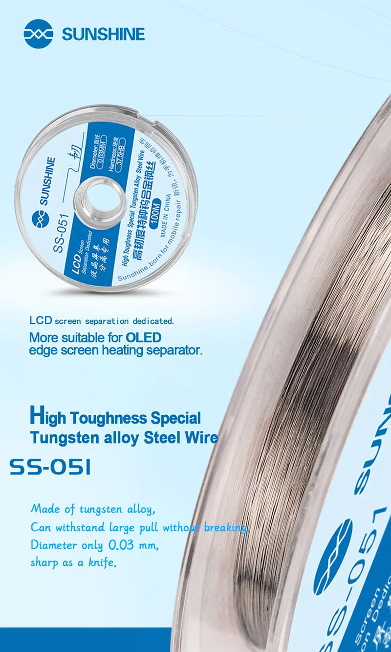 Sunshine SS-051 LCD Screen Separation Wire Ultrafine 0.03MM Cutting Steel Wire