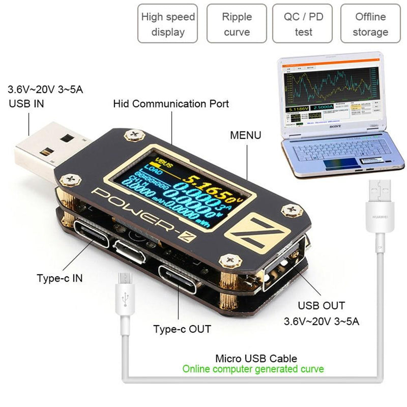 KM001 POWER-Z USB PD Tester Voltage Current Type-C Meter