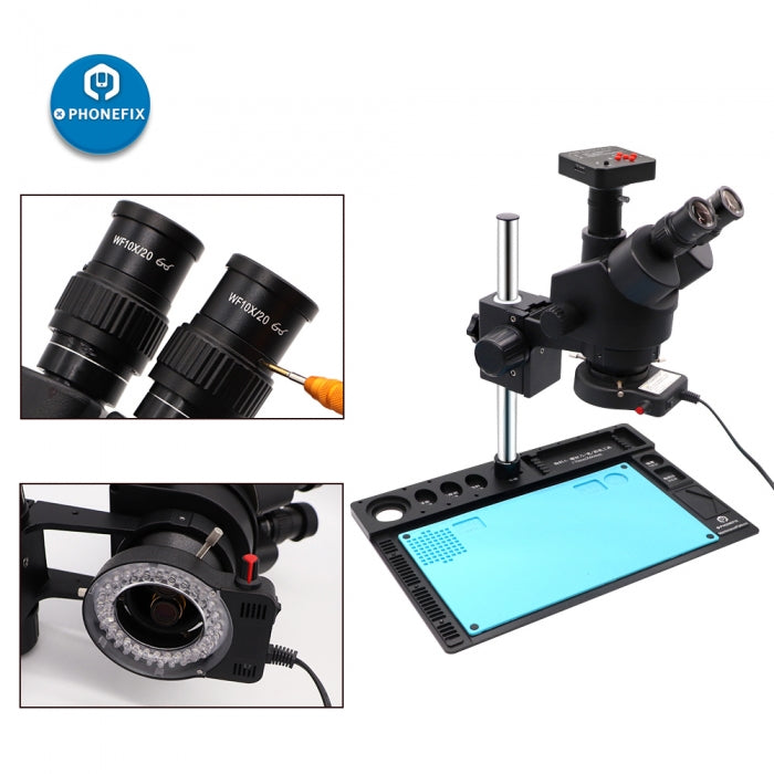 7-45X Black Trinocular Microscope with Aluminum Alloy Pad Holder