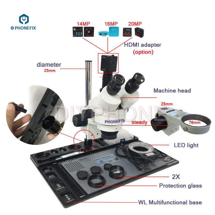 3.5X-90X Trinocular Microscope with aluminum alloy Soldering Pad