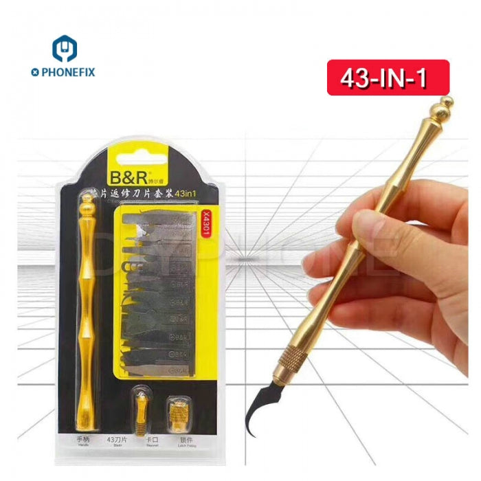 43 in 1 CPU NAND Removal Graver Blade Glue Cleaning Pry Knife Tool