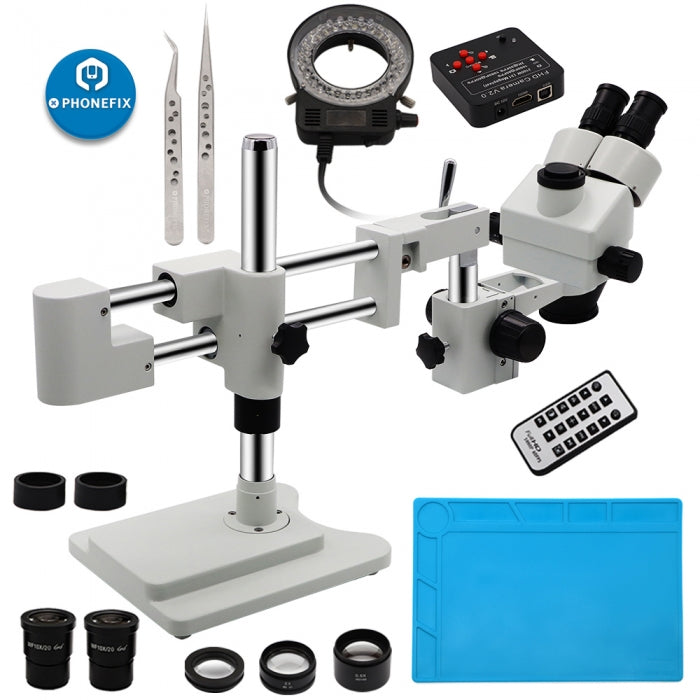 7-45X Double-Arm Trinocular Stereo Microscope with Video Camera