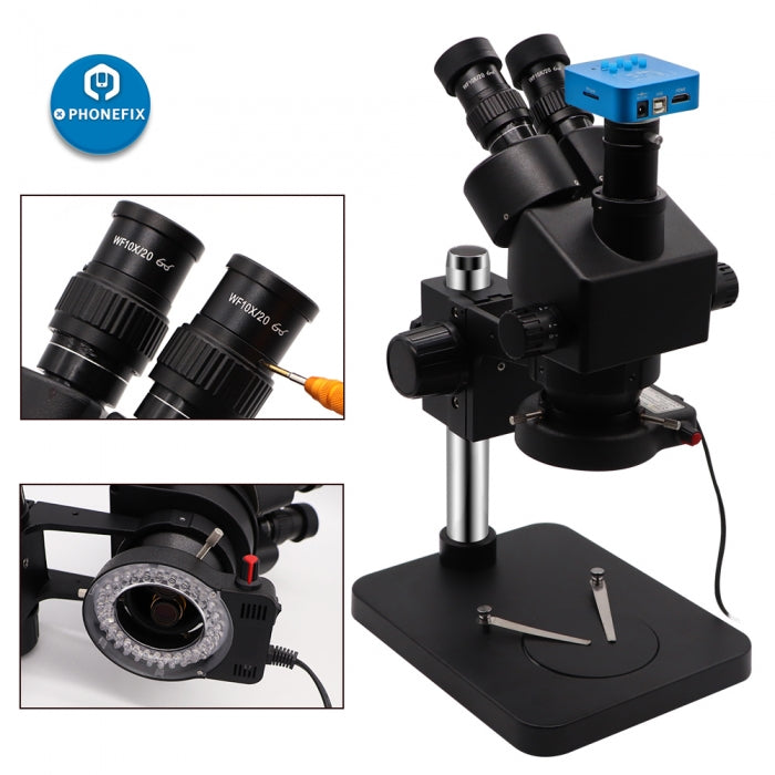 7X-45X Black Simul-Focal Trinocular Microscope with HDMI Camera