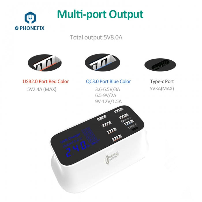 8 Port USB Quick Charger Hub With Type-C Port USB Charger Station