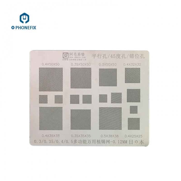 Amaoe 0.3 0.4 0.5mm Multiple Holes BGA Reballing Stencil Template