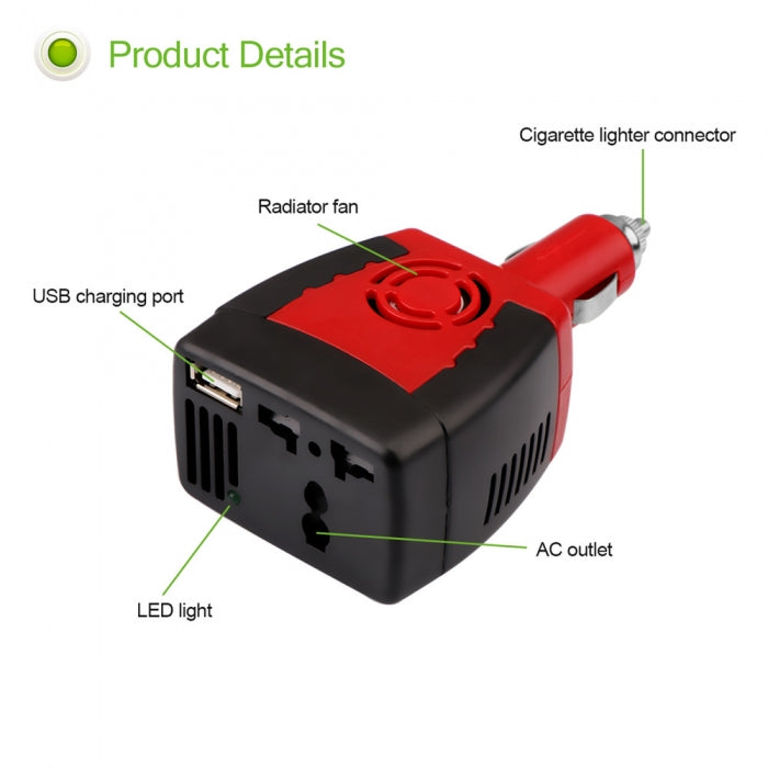 DC 12V To AC 220V 150W Vehicle Power Inverter With 5V USB Output
