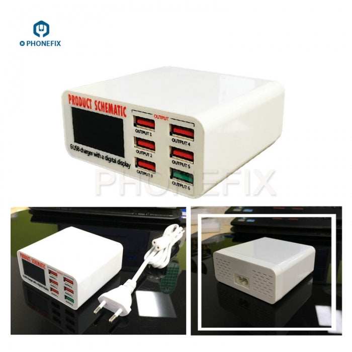 Phone USB Charging Station Digital Display 6 Port Phone USB Charger
