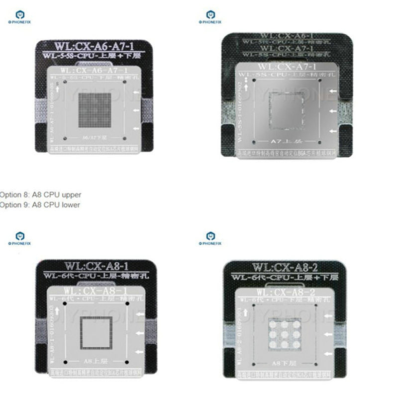 WL BGA Reballing Stencils For iPhone Baseband NAND A10 A9 A8 CPU