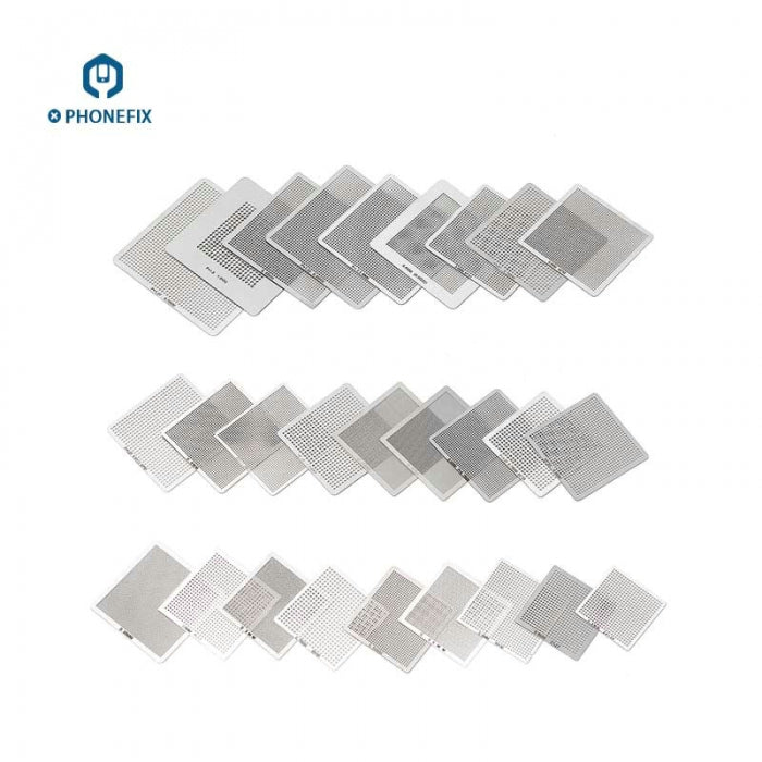 36Pcs BGA Reballing Stencils Kit For Cell Phone Soldering Rework Net