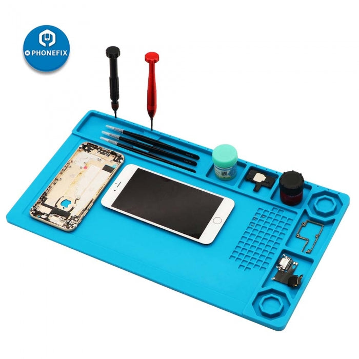 Blue Magnetic Insulation Silicone Pad Soldering Mat For Phone Repair