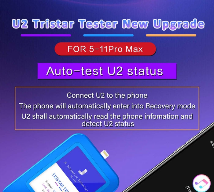 JC U2 Tristar Tester Box for iPhone U2 IC Fault Fast Testing Tool