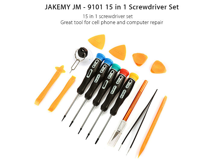 JAKEMY JM-9102 15 in 1 Screwdriver Set for Mobile Phone Disassembling