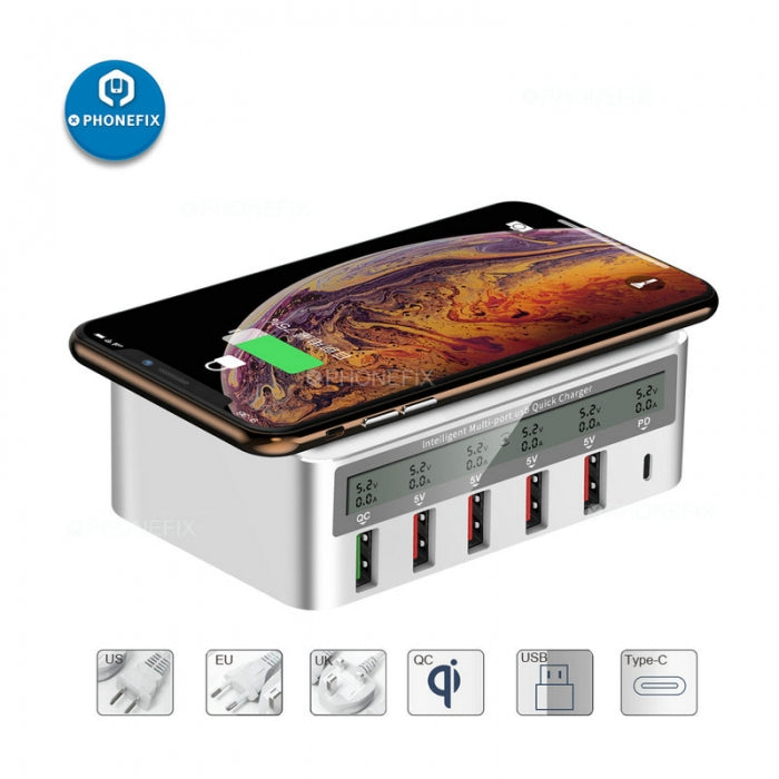 Multiport Type-C Quick USB 3.0 Charger Station Wireless Charging Hub