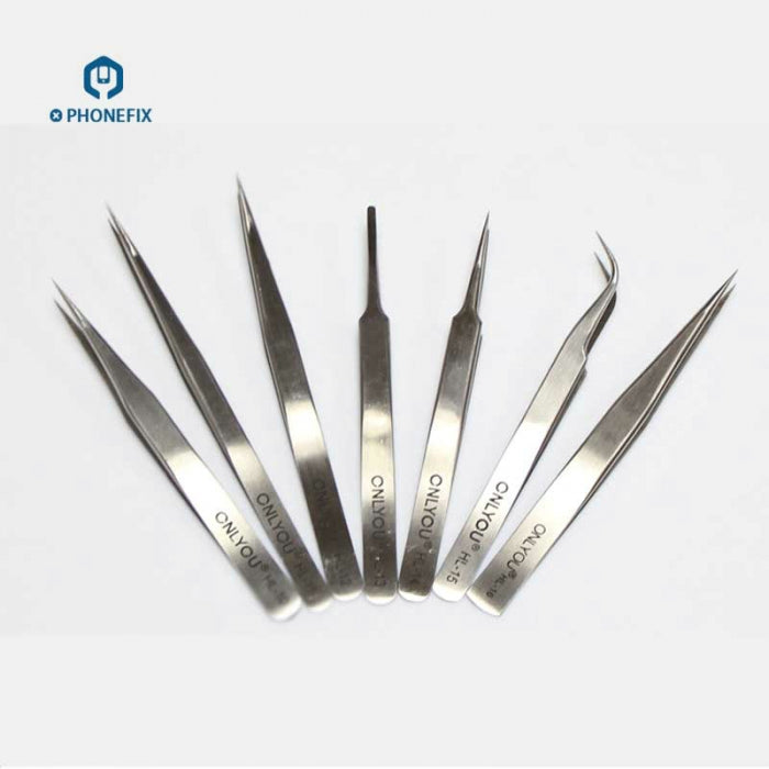 7pcs Stainless Steel Tweezers ESD Hand Tools for Electronics Repair