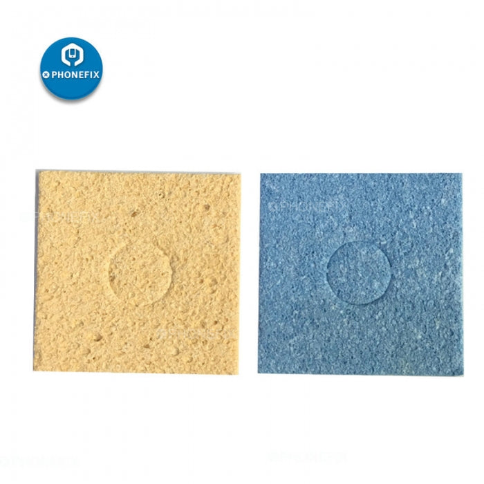 Universal Electric Iron Tip Cleaning Sponge Replacement Pads Yellow Blue