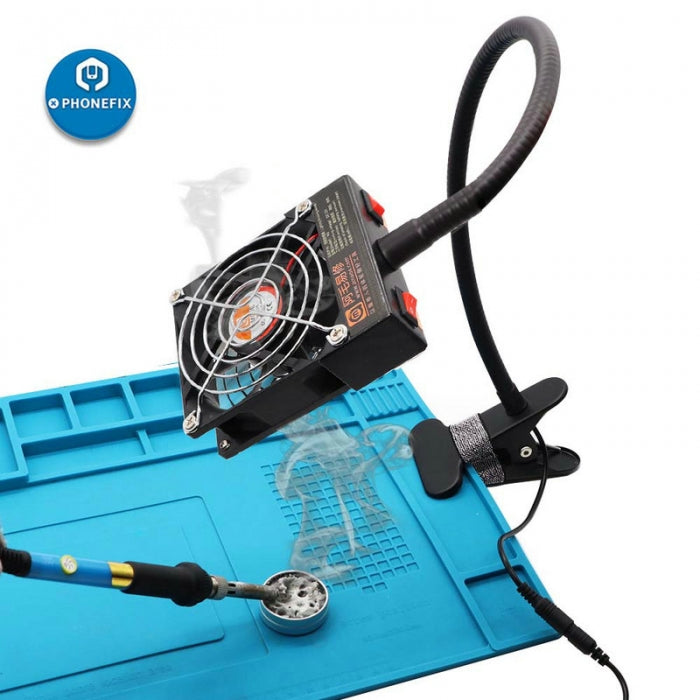 Soldering Iron Exhaust Fan Smoke Exhauster Machine with LED Light