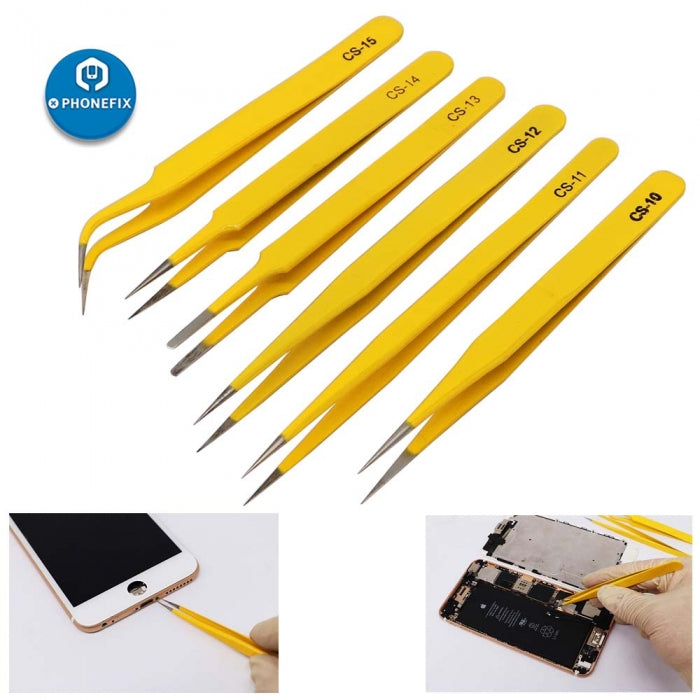 6PCS Anti-static Stainless Steel Industrial Tweezers Straight Curved