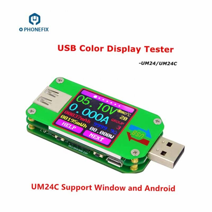 UM24 USB Color LCD Power Meter Voltage Current Power Meter