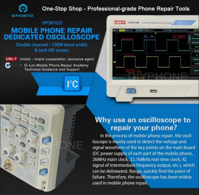 UNI-T UPO8102S Soldering Repair Dedicated Oscilloscope 2 Channels