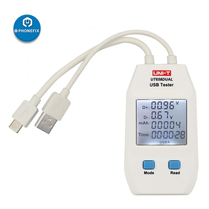 UT658 Dual Output Current Voltage Monitor USB Port Power Meter