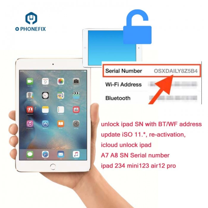 Fix ipad Activation Error Unlock Serial Number SN With BT WF Address