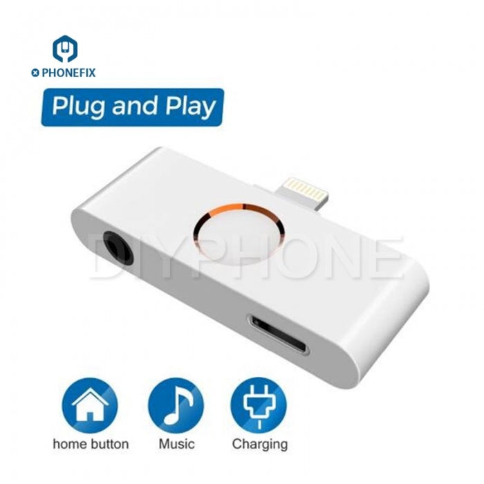External iPhone Home Button with Charging Port Adapter + Audio Jack