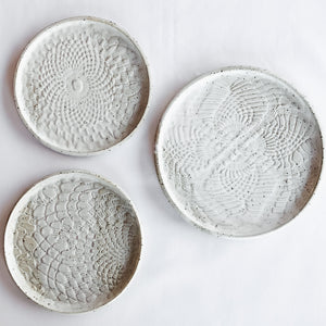White Lace Ceramic Wall Decor - Set of 3