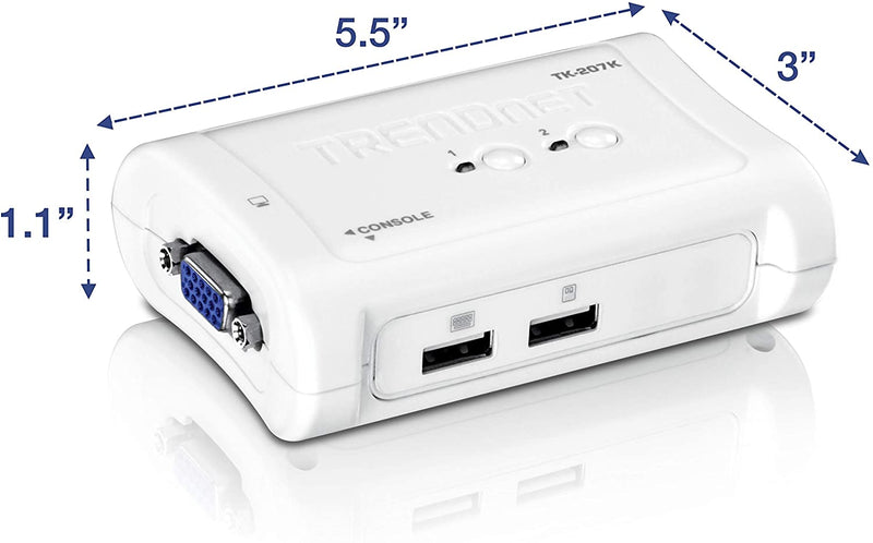 SWITCH KVM TRENDNET 2 PORT TK-207K BLANC - Declic Informatique