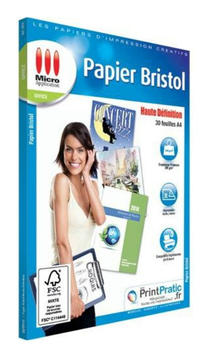 PAPIER BRISTOL A4 200g/m ² 30F MICRO APPLICATION - Declic Informatique