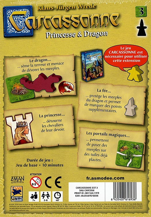 CARCASSONNE EXTENSION PRINCESSE ET DRAGON - Declic Informatique