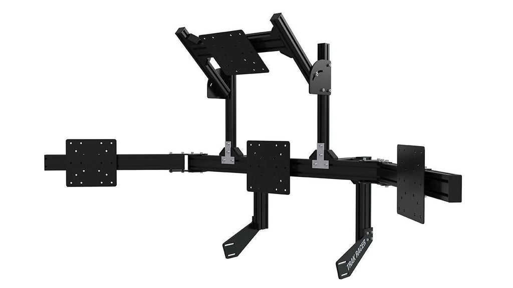 Black Cockpit-Mounted Monitor Stand with Quad Monitor Mount - Simplace.co