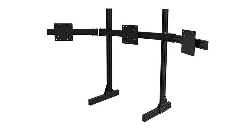 TR8020 Black Aluminium Floor Triple Monitor Stand with VESA Mounts - Simplace.co