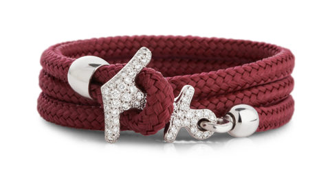 Orkney Red and 18 Carat White Gold Anchor Bracelet