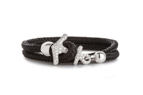 Brillant Cocoa Black and 18 Carat White Gold Anchor Bracelet